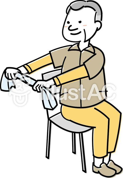 タオル体操をするシニア男性イラスト No 574047無料イラストなら