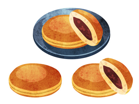 Cooking_Japanese confectionery_Dorayaki_Watercolor