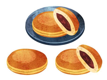 烹飪_日本甜點_銅鑼燒_水彩