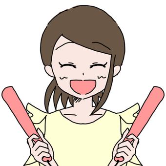 Private woman 1 (baseball cheering)