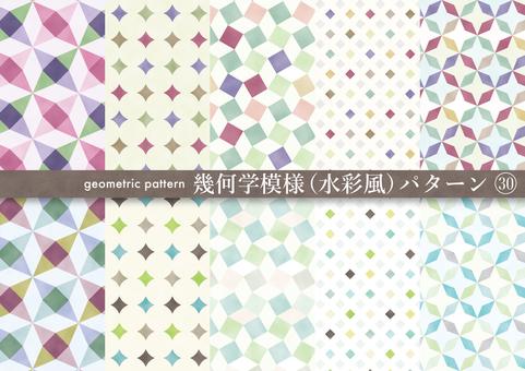 水彩風の幾何学模様パターン(30)