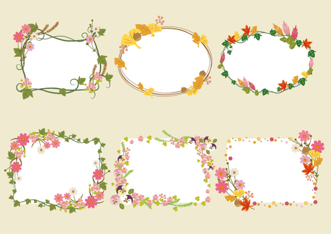 Autumn flower and fallen frame set