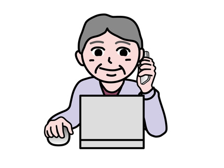 PC operation (471) smartphone front senior woman