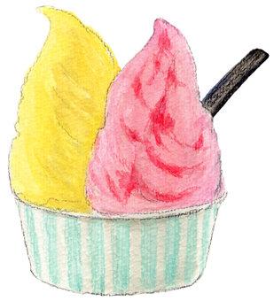 Strawberry and mango gelato
