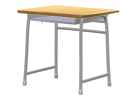 School desk (diagonally behind)