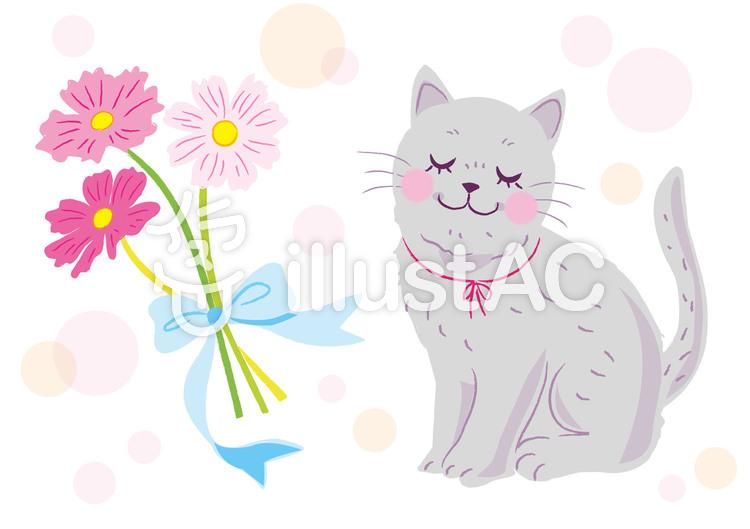 ネコとコスモスのイラスト