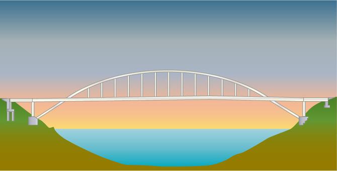 Illustration of an arch bridge crossing the sea