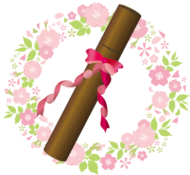Free illustration free material Diploma with cherry blossoms