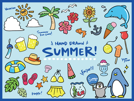 Summer simple hand drawn colorful illustration set
