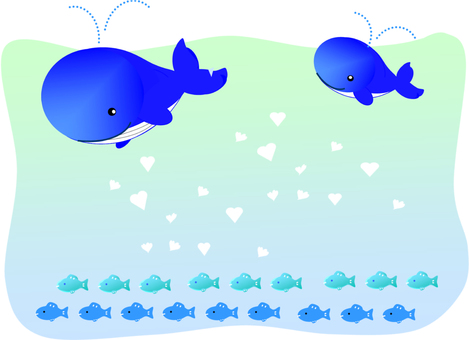 Whale and fish