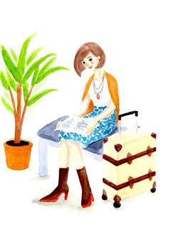 여행을 즐기는 여성