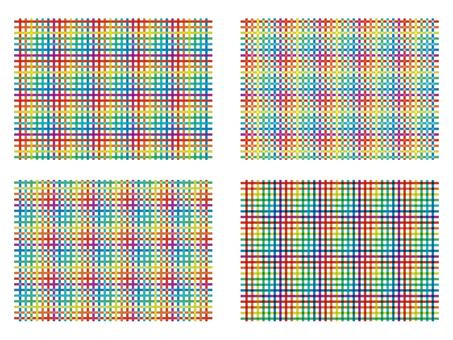 Rainbow with rainbow color Retro check pattern