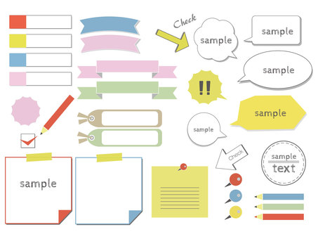 Sticky note, ribbon, speech balloon, stationery set