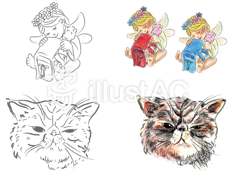 Colored Pencils For Grown Up Coloring Angel and devil cat coloring book color is colored