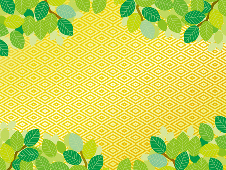 Pattern (133) Gold rhombus and summer fresh green