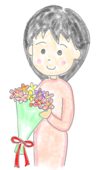 A woman holding a bunch of flowers