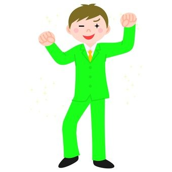 A man with a green suit who raises his fist