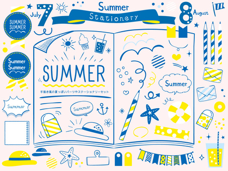 Summery hand drawn style stationery set