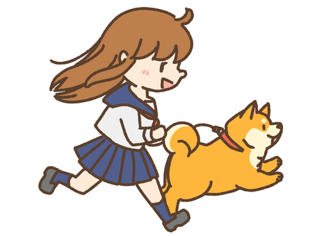 高中女生和柴犬