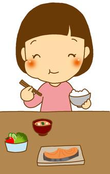 A girl who eats rice