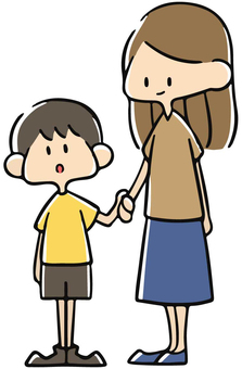 Parent and child connecting hands