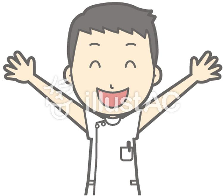 男性看護師-バンザイ-バストのイラスト