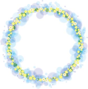 Rape blossoms and wild chrysanthemum frame