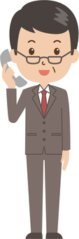 Middle-aged man | salaried worker | suit | telephone