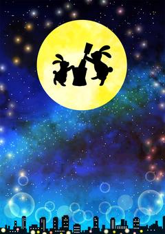 Watercolor moon moon night background