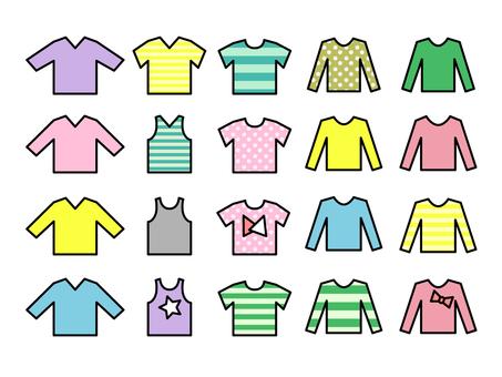 シンプルな衣類のセット 線あり