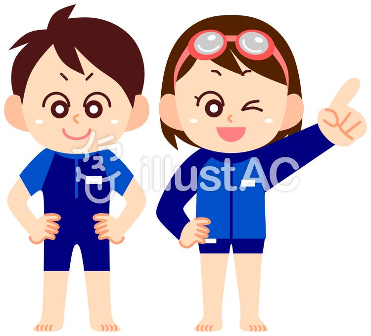ラッシュガードを着た男の子と女の子のイラスト