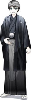 A young man wearing a black hakama whole body