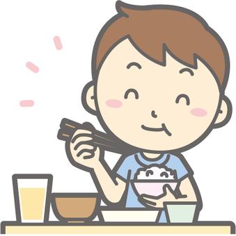 소년 반팔 a- 맛있는 일식 - 가슴