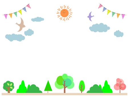 太陽とガーランドと鳥と木のフレーム