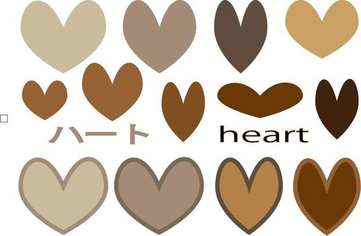Brown heart set