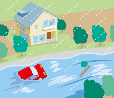Disaster typhoon flood illustration