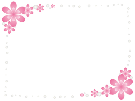 Flower and pearl decorative frame