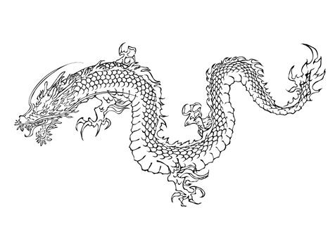 Dragon line drawing 03