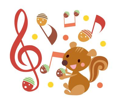 도토리 다람쥐 가을의 음악