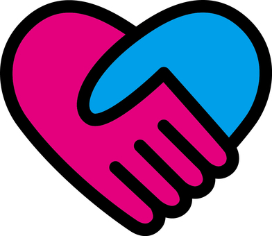 Heart _ handshake _ pink & amp; blue