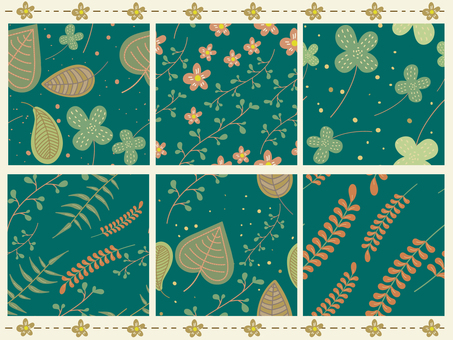 Set of plant patterns and background materials