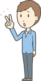ブルー襟シャツ男性-214-全身