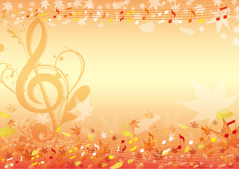 Graceful autumn color music background frame horizontal