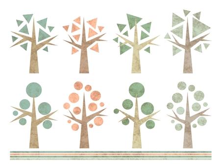 昭和レトロな木のセット 貼り絵風