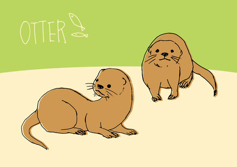Loose otter hand-drawn material