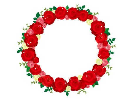 赤いバラのリースのイラスト1