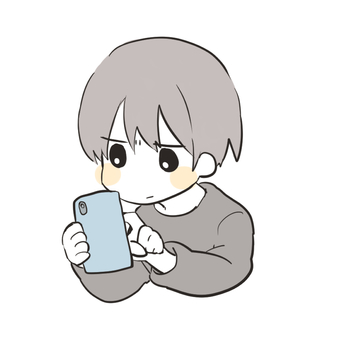 Young man playing with smartphone