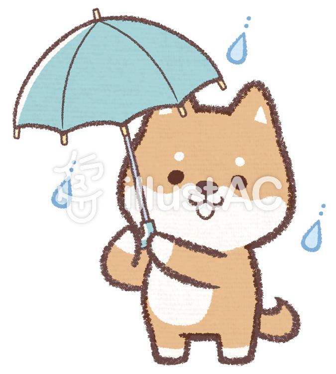 傘さしイヌのイラスト