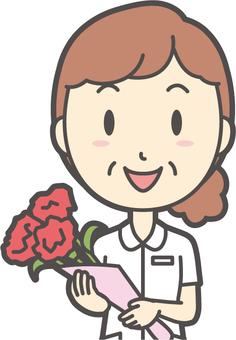 Middle-aged female nurse white coat-154-Bust