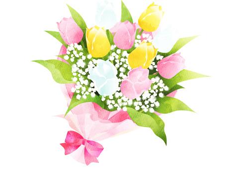 수채화 풍 튤립 꽃다발